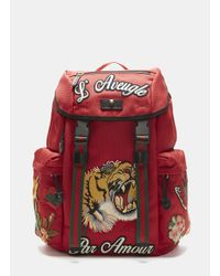 e5d3dcb3bcf2 Lyst - Gucci Embroidered Canvas Backpack in Red for Men