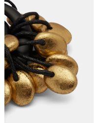 Monies - 7791 Painted Pebble Circular Drop Earrings In Black And Gold - Lyst