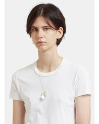 All_blues - Metallic Eggshell Polished Necklace In Silver - Lyst