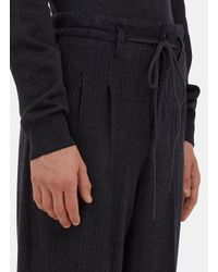 Ermenegildo Zegna - Gray Men's Wide Leg Drawstring Knit Pants In Dark Grey for Men - Lyst