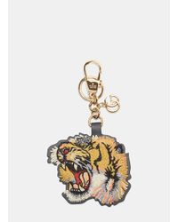 Gucci - Metallic Embroidered Tiger Key Chain In Yellow - Lyst