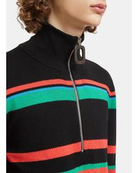 J.W. Anderson - Striped Knit Polo Zipped Sweater In Black for Men - Lyst