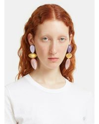 Monies - Purple 7722 Painted Clip-on Drop Earrings In Lilac, Gold And Pink - Lyst