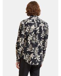 Saint Laurent | Multicolor Men's Hibiscus Print Shirt In Navy for Men | Lyst