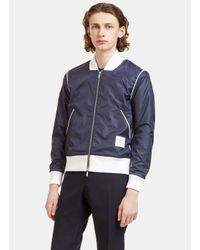Thom Browne | Blue Men's Technical Bouclé Knit Lined Bomber Jacket In Navy for Men | Lyst