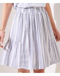 LOFT - White Striped Ruffle Full Skirt - Lyst
