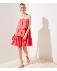 d2eb014a40b2 Lyst - LOFT Petite Tiered Halter Dress