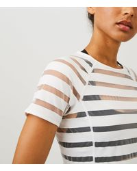 LOFT - Gray Lou & Grey Form Shadow Stripe Tee - High Impact - Lyst