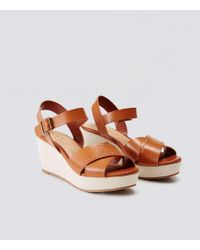 LOFT - Brown Crossover Ankle Strap Wedge Sandals - Lyst