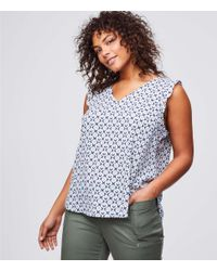 LOFT - Multicolor Plus Mosaic Flutter Top - Lyst