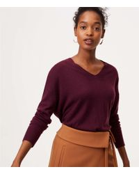 LOFT - Purple Speckled Tie Back Double V Sweater - Lyst