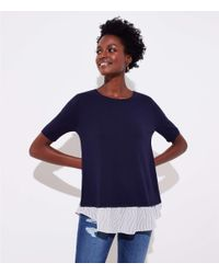 LOFT - Blue Petite Striped Crossover Mixed Media Sweater - Lyst