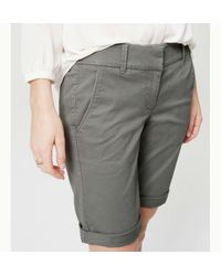 LOFT - Gray Bermuda Roll Shorts - Lyst