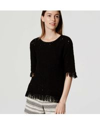 LOFT - Black Fringed Summer Sweater - Lyst