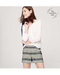 "LOFT - Multicolor Petite Striped Sailor Riviera Shorts With 3 1/2"" Inseam - Lyst"