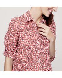 LOFT - Pink Cotton Button Down Shirt - Lyst