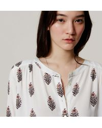 LOFT - White Floral Shirred Utility Blouse - Lyst