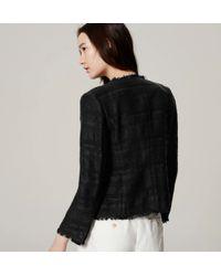 LOFT - Black Fringe Tweed Jacket - Lyst
