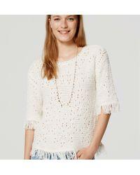 LOFT - White Fringed Summer Sweater - Lyst