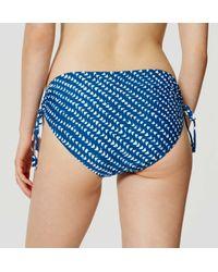 LOFT - Blue Beach Batik Side Ruched Bikini Bottom - Lyst
