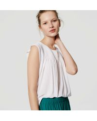 LOFT - White Petite Smocked Yoke Top - Lyst