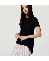 LOFT - Blue Petite Shirred Back Tee - Lyst