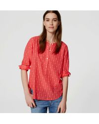 LOFT - Red Petite Etched Stripe Henley Softened Shirt - Lyst