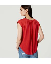 LOFT - Shirred Tee - Lyst