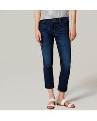 LOFT - Blue Tall Modern Kick Crop Jeans In Dark Original Indigo Wash - Lyst