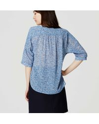 LOFT - Blue Petite Abstract Shirred Blouse - Lyst