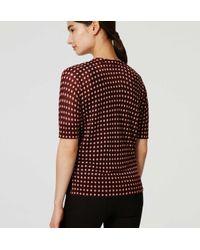 LOFT - Red Mosaic Sheer Short Sleeve Cardigan - Lyst