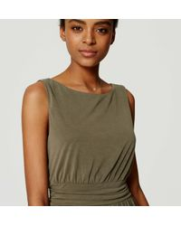 LOFT - Green Ruched Maxi Dress - Lyst