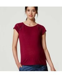 LOFT - Red Maternity Ladder Lace Tee - Lyst