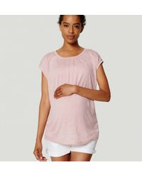 LOFT - Pink Petite Maternity Shirred Linen Tee - Lyst