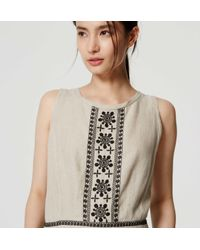 LOFT - Natural Petite Embroidered Linen Romper - Lyst