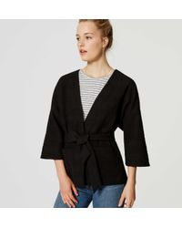 LOFT - Black Belted Kimono Jacket - Lyst