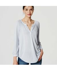 LOFT - Blue Split Neck Mixed Media Top - Lyst