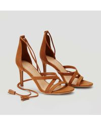 LOFT - Brown Tasseled Ankle Tie Heels - Lyst