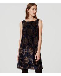 d0faf1b04471 Lyst - LOFT Petite Mystic Velvet Swing Dress in Black