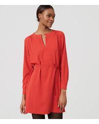 LOFT | Red Split Neck Shirtdress | Lyst