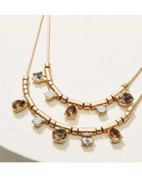 LOFT - Metallic Double Strand Geometric Crystal Necklace - Lyst