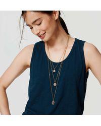 LOFT | Blue Triple Strand Pendant Necklace | Lyst