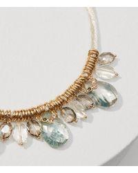LOFT - Metallic Thread Wrapped Crystal Necklace - Lyst