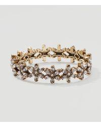 LOFT - Metallic Floral Crystal Stretch Bracelet - Lyst