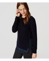 LOFT | Blue Plaid Ribbed Two-in-one Sweater | Lyst