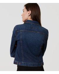 LOFT - Blue Petite Denim Jacket In Dark Classic Indigo Wash - Lyst