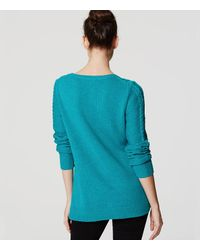 LOFT - Blue Petite Cable Tunic Sweater - Lyst