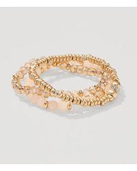 LOFT - Metallic Blush Crystal Stretch Bracelet Set - Lyst
