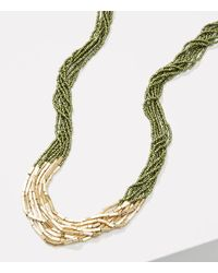 LOFT - Multicolor Metallic Bar Multistrand Beaded Necklace - Lyst