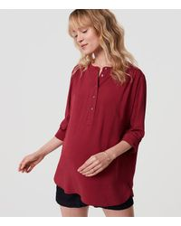 LOFT | Red Petite Maternity Henley Utility Tunic | Lyst